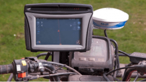 A GPS device mounted on an off-road vehicle for trail guidance